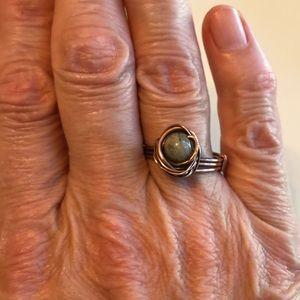 Jewelry - Handmade moonstone copper wire ring